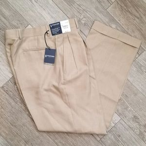 Men's Tan Pleated Dress Pants